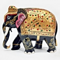 Wooden Embossed Painted Elephant (Black) - 15cm Height