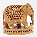Wooden Undercut & Inlaid Elephant - 10cm Height