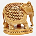 Wooden Undercut Inlaid Elephant – 15cm Height