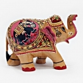 Wooden Painted Elephant 8 cm