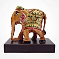 Wooden Painted Elephant – Brown Base
