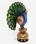 Wooden Painted Dancing Peacock - 13cm Height