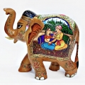Wooden Mughal Painted Elephant Statue