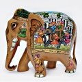 Wooden Elephant with Fine Miniature Painting