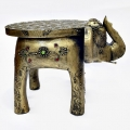 Wooden Brass Finish Elephant Table