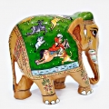 Wooden Fine Miniature Painted Elephant
