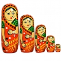 Wooden Painted Doll Set of 5pc
