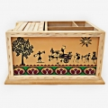 Wooden Desk Organizer with Warli Painting