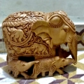 Wooden Fine Carved Baby Elephant - Big