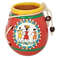 Terracotta Warli Hand Painted Pen Stand
