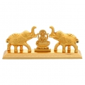 Golden Elephant Kumkum Box with Lakshmi